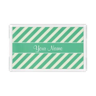 真新しい緑および白い対角線は縞で飾ります アクリルトレー