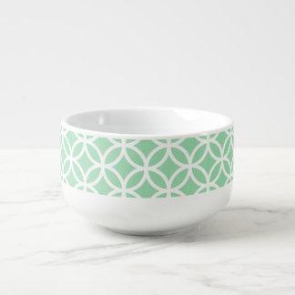 真新しい緑および白く幾何学的なパターンスープマグ スープマグ