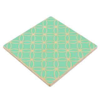真新しい緑および白く幾何学的なパターン円 ウッドコースター