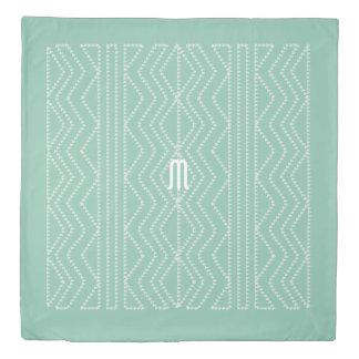 真新しい緑のクリーム色の幾何学的な矢パターン羽毛布団 掛け布団カバー