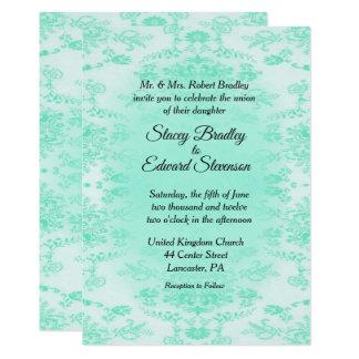 真新しい緑のダマスク織の結婚式招待状 カード