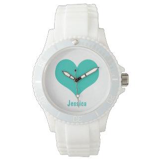真新しい緑のハート-名前入りな一流の腕時計 腕時計