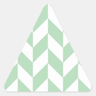 真新しい緑のヘリンボンパターン 三角形シール