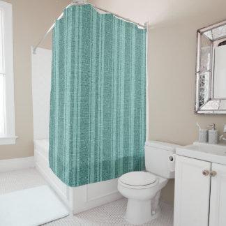 真新しい緑のリネン質のプリントのストライプなパターン シャワーカーテン