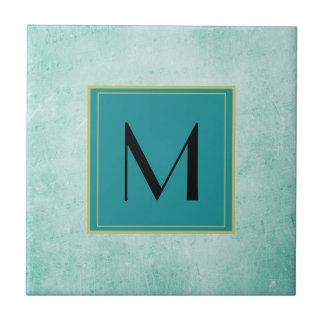 真新しい緑のヴィンテージの紙の質のモノグラム タイル