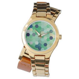 真新しい緑の人魚の魚スケールの調子の八角形 腕時計