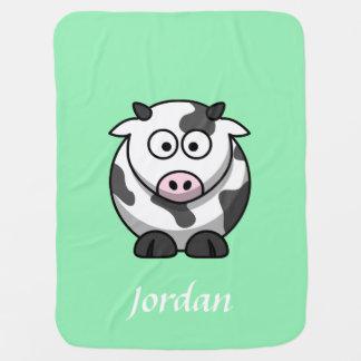 真新しい緑の名前入りな牛毛布 ベビー ブランケット