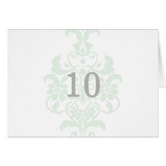 真新しい緑の微妙なダマスク織のテーブル数カード カード