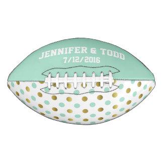 真新しい緑の新郎新婦の習慣のフットボール アメリカンフットボール