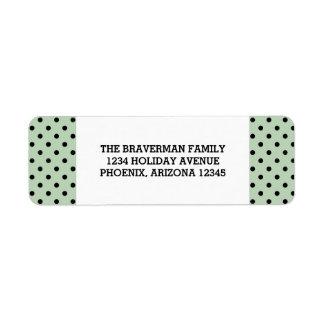 真新しい緑の甘い水玉模様の休日の宛名ラベル ラベル