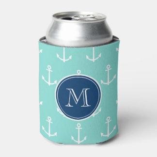 真新しい緑の白いいかり、濃紺のモノグラム 缶クーラー