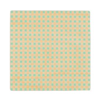 真新しい緑の白いギンガムパターン ウッドコースター