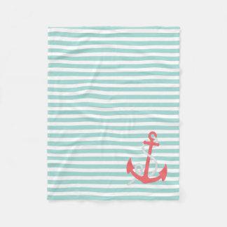 真新しい緑の航海の珊瑚のいかりによって縞で飾ります フリースブランケット