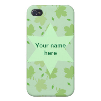 真新しい葉の葉の庭師スクロールは名前をカスタマイズ iPhone 4 CASE