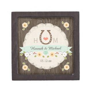 真新しい蹄鉄のハートの西部の結婚式の記念品箱 ギフトボックス