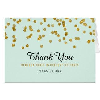 真新しい金ゴールドのグリッターの紙吹雪のバチェロレッテは感謝していしています カード