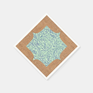 真新しい青緑のヴィンテージScrollwork + バーラップのデザイン スタンダードカクテルナプキン