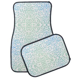 真新しく青いヒョウのパステル調のかわいいのアニマルプリントの緑 カーマット