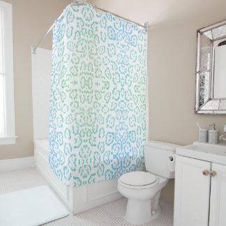 真新しく青いヒョウのパステル調のかわいいのアニマルプリントの緑 シャワーカーテン
