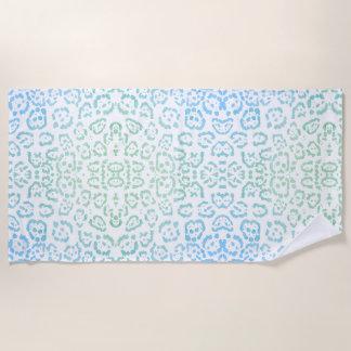 真新しく青いヒョウのパステル調のかわいいのアニマルプリントの緑 ビーチタオル