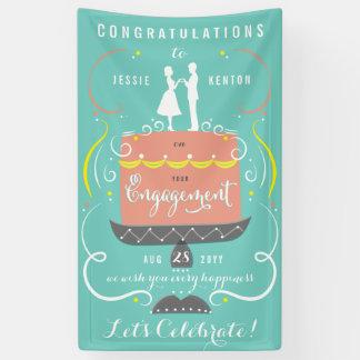 真新しく、パステルお祝いの婚約をつなぎます 横断幕
