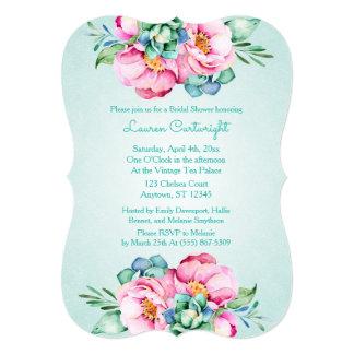 真新しく、ピンクの水彩画の花の招待状 12.7 X 17.8 インビテーションカード
