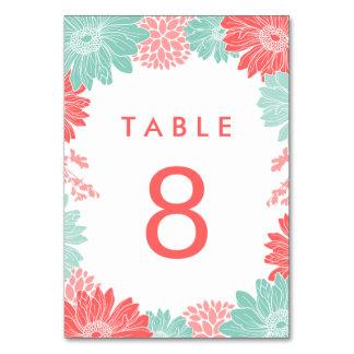 真新しく、珊瑚のモダンな花の結婚式のテーブル数