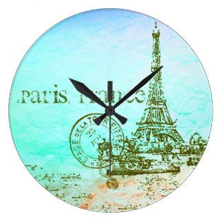 真新しく、緑のパステル印象派のパリフランス ラージ壁時計