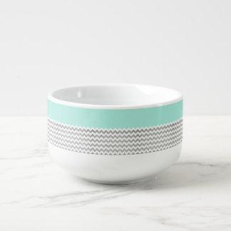 真新しく、銀製の模造のなグリッターシェブロン スープマグ