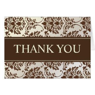 真珠およびチョコレートダマスク織はメッセージカード感謝していしています カード