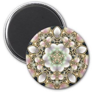 真珠および金ゴールドの万華鏡のように千変万化するパターン マグネット