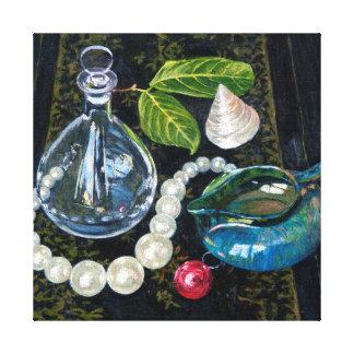 真珠が付いている静物画 キャンバスプリント