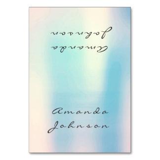 真珠のようで青いオパールのモモのピンクの金ゴールドの名前入りな名前 カード