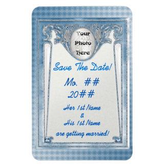 真珠のような青保存日付(写真の磁石) マグネット