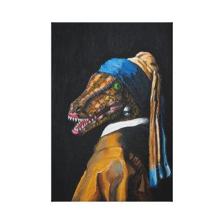 真珠のイヤリングのキャンバスのプリントが付いているヴェロキラプトル キャンバスプリント