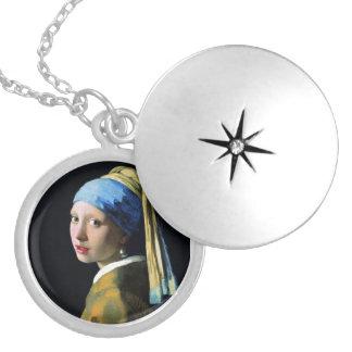 真珠のイヤリングのバロックの芸術の1月Vermeerの女の子 シルバープレートネックレス