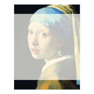 真珠のイヤリングのバロックの芸術の1月Vermeerの女の子 レターヘッド