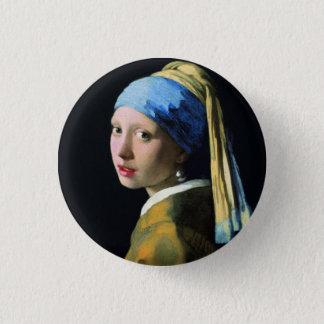 真珠のイヤリングのバロックの芸術の1月Vermeerの女の子 缶バッジ