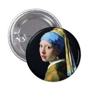 真珠のイヤリングのバロックの芸術の1月Vermeerの女の子 3.2cm 丸型バッジ