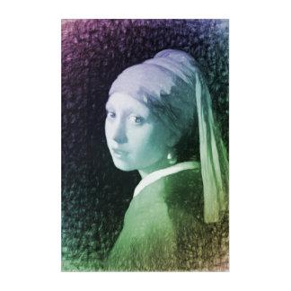 真珠のイヤリングのモダンなリメイクを持つ女の子 アクリルウォールアート