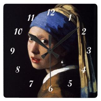 真珠のイヤリングを持つヨハネスVermeerの女の子 スクエア壁時計