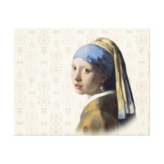 真珠のイヤリングを持つ女の子 キャンバスプリント