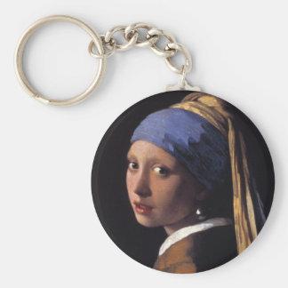 真珠のイヤリングを持つ女の子 キーホルダー