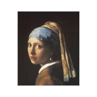真珠のイヤリングを持つ女の子、c.1665-66 キャンバスプリント