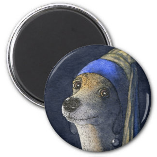 真珠のイヤリングを持つ犬 マグネット
