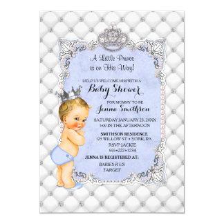 真珠のダイヤモンドのブロンドの小さい王子男の赤ちゃん カード