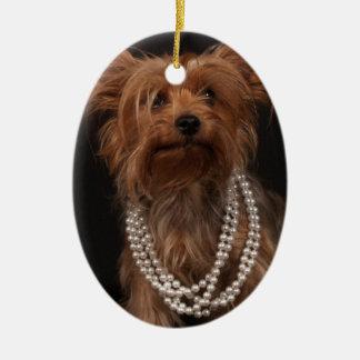 真珠のネックレスのヨークシャーテリア セラミックオーナメント