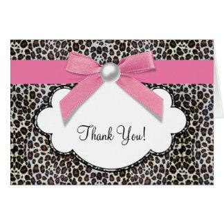真珠のピンクのヒョウのサンキューカード カード