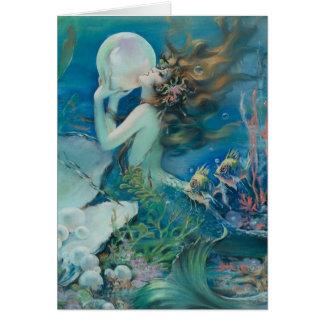 真珠のメッセージカードを持つヴィンテージの人魚 カード