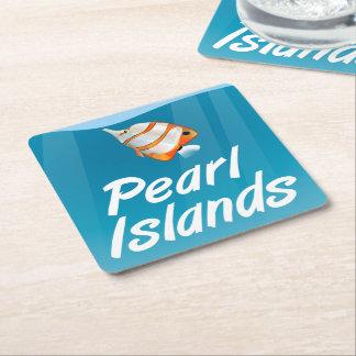 真珠の島熱帯旅行ポスター スクエアペーパーコースター